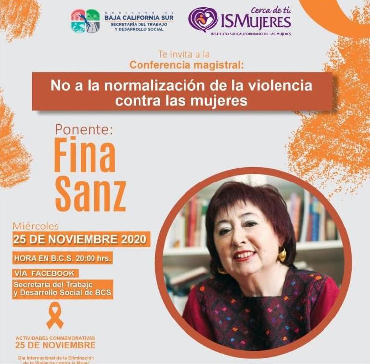 """Conferencia Magistral Fina Sanz 25N """"No a la normalización de la violencia contra las mujeres"""""""